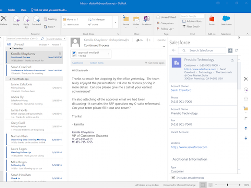 Salesforce Outlook Add-in Screenshot