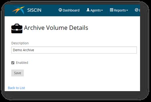 Archive Volume Details- SISCIN