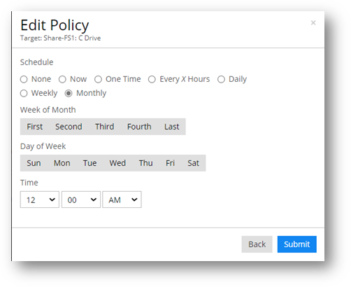 SISCIN- Policy Monthly Schedule Frequency