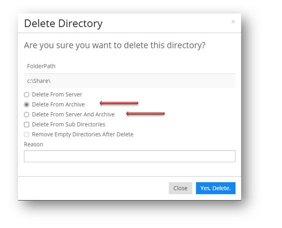 Delete directory action