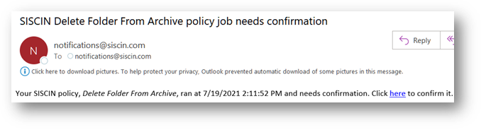 Alert by Email to approve Delete Directory job